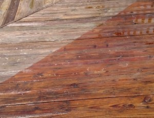 before and after photo wood deck power wash pressure wash in New Windsor MD 21776
